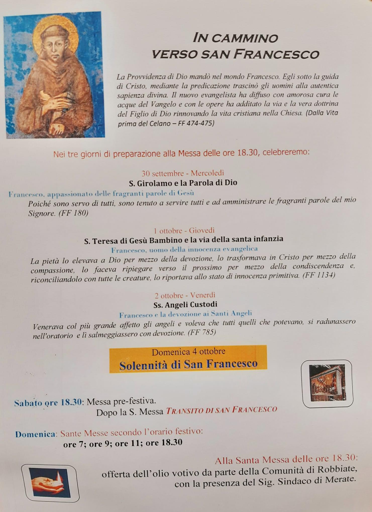 """""""In Cammino Verso Francesco"""" – Programma Delle Celebrazioni Della Solennità Di San Francesco"""
