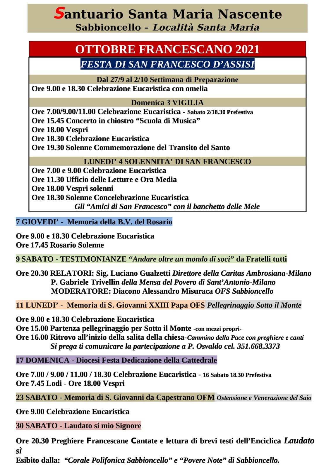 Ottobre Francescano – Programma. Santuario Francescano Di Sabbioncello