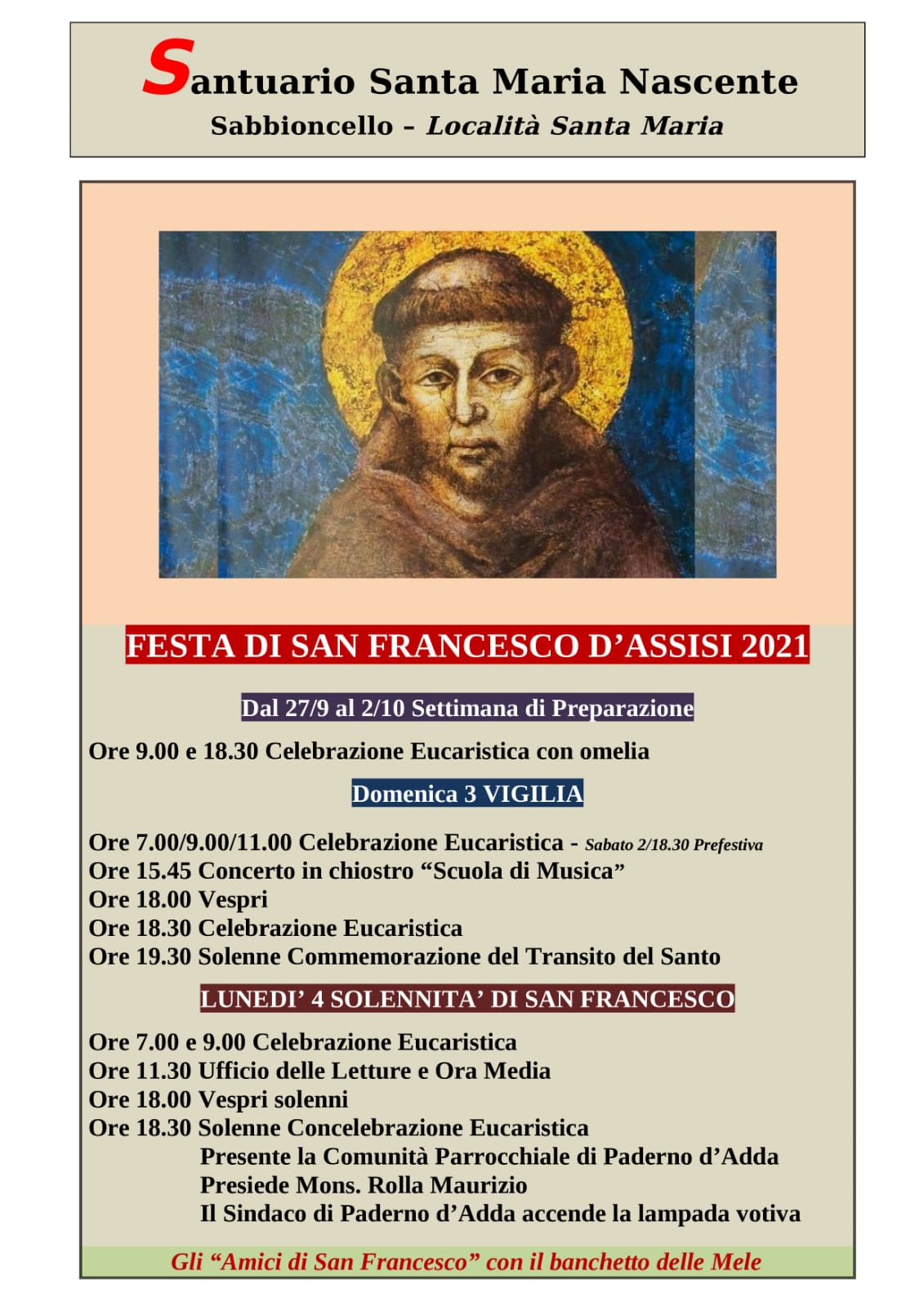 Festa Di San Francesco D'Assisi – Programma. Santuario Francescano Di Sabbioncello